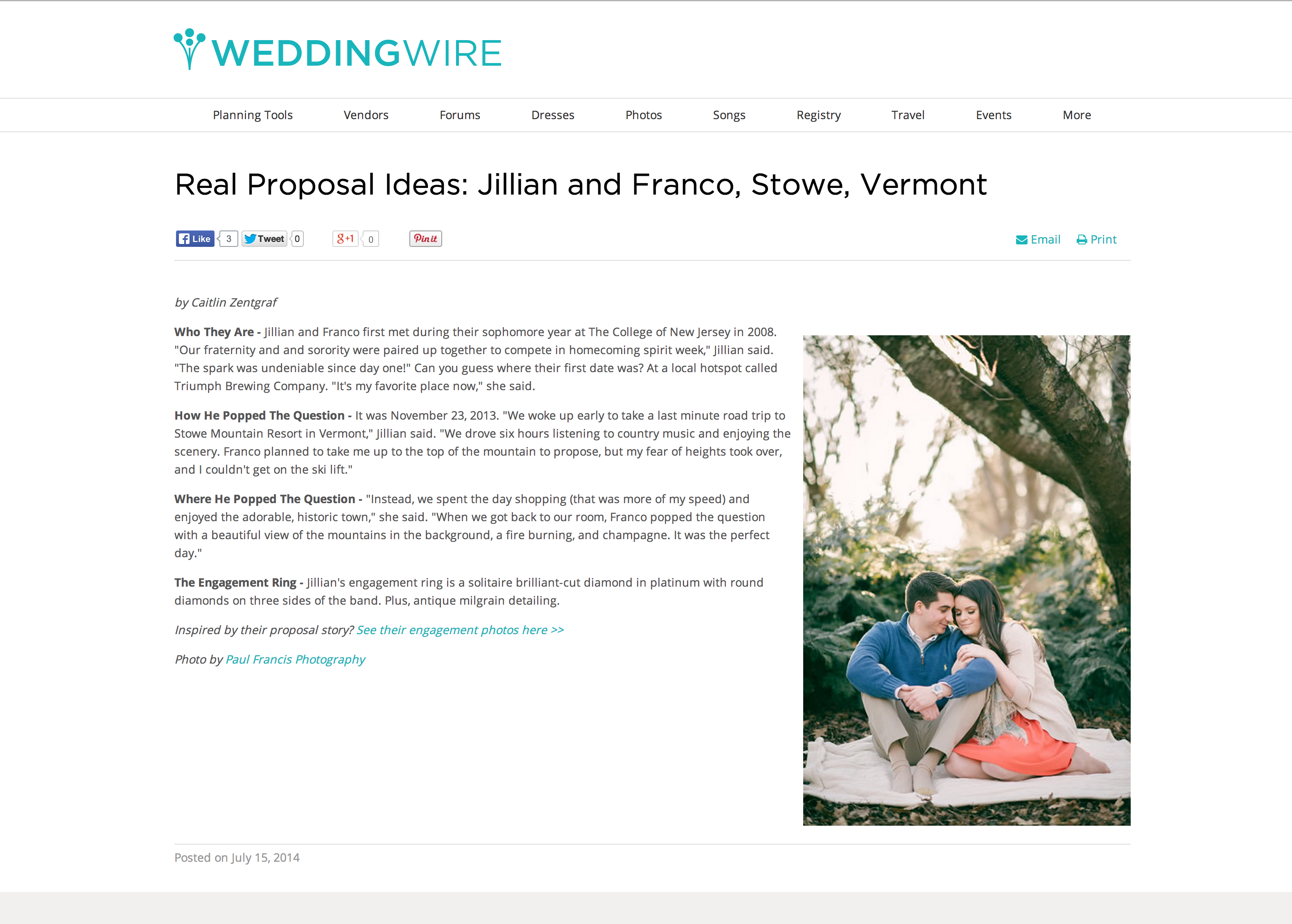 published nj wedding photographer